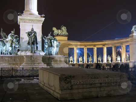 Heroes square in Budapest at night stock photo, The monument of Heroes square in Budapestat night by Alessandro Rizzolli