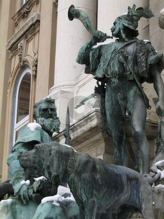 Budapest royal palace - Statues of hunters stock photo, A particular of the fountain inside the walls of the royal palace on the Buda hill by Alessandro Rizzolli
