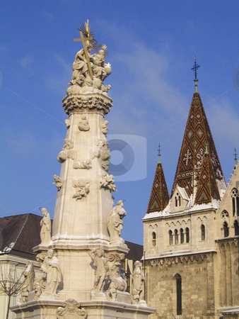 The obelisk near St. Matthias church stock photo, A view of the obelisk near St. Matthias church in Budapest by Alessandro Rizzolli