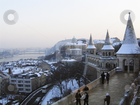 Budapest from Fishermen's Bastion stock photo, Panorama of Budapest from one of the tower of Fishermen's Bastion on the Buda hill by Alessandro Rizzolli