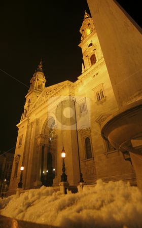 St. Stephen's basilica in Budapest stock photo, Night shot of St. Stephen's basilica in Budapest by Alessandro Rizzolli
