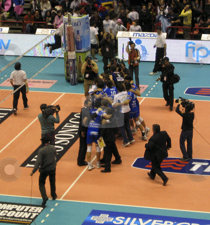 Volleyball - Piacenza vs Cuneo stock photo, Cuneo player celebrating after winning the final game of the Italian national cup against Piacenza by Alessandro Rizzolli