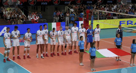 Volleyball World League: Italy vs France stock photo, The Italian national team during the presentation of the game by Alessandro Rizzolli