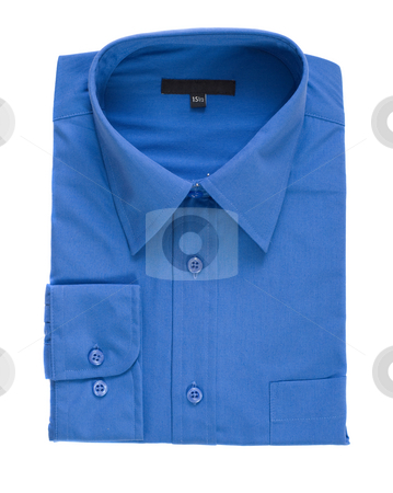 Isolated Blue Dress Shirt stock photo, A new folded dress shirt isolated against a white background by Richard Nelson