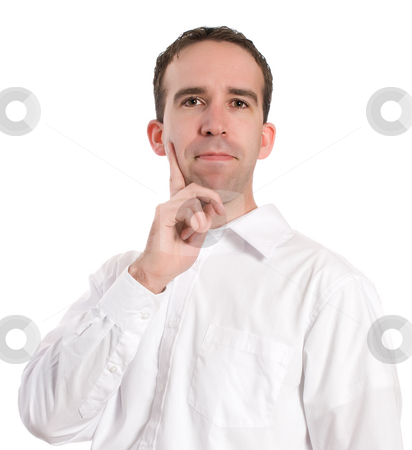 Thinking Man stock photo, Closeup view of a man wearing a white shirt is thinking, isolated against a white background by Richard Nelson