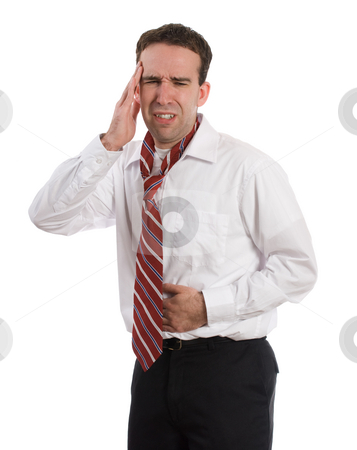 Illness stock photo, A young man wearing a suit and tie is suffering from a stomach ache and a headache at the same time, isolated against a white background by Richard Nelson