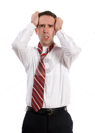 Stress Headache stock photo, A young business employee is getting a headache from all the stress, isolated against a white background by Richard Nelson