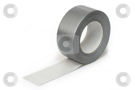 Insulating tape stock photo, Silver insulating tape isolated on white background by Birgit Reitz-Hofmann