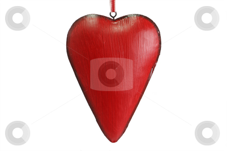 Red heart stock photo, Red heart on a over white background by Birgit Reitz-Hofmann