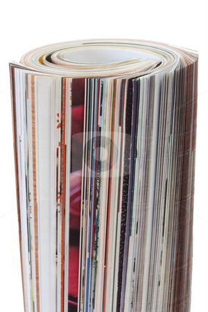 Magazine stock photo, Rolled up magazine on bright background by Birgit Reitz-Hofmann