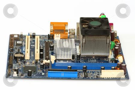 Motherboard stock photo, Computer motherboard on bright background by Birgit Reitz-Hofmann