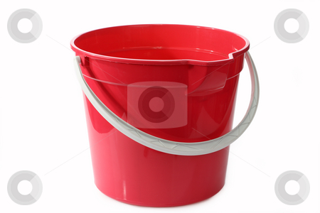 Bucket stock photo, A red bucket or pale on a white background by Birgit Reitz-Hofmann