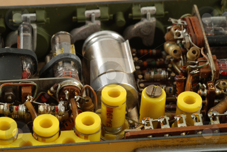 Vintage electronics stock photo, Interior of a vintage radio transmitter showing the different old and bulky components used by Albert Lozano