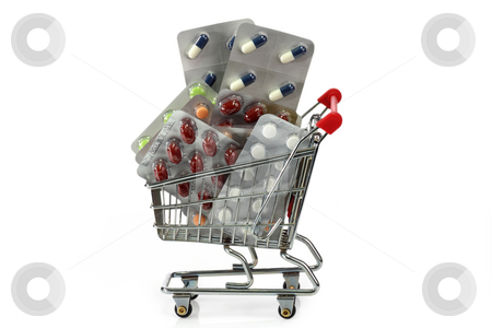 Shopping trolley stock photo, Shopping trolley with pills isolated on white background by Birgit Reitz-Hofmann