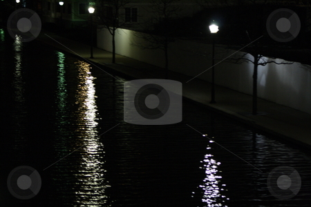 Canal at night stock photo, The Indianapolis canal at night by Chris Torres