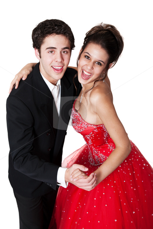 Ballroom Dancing Couple stock photo, Boy and girl, in formal attire, dancing at their high school prom. by Brenda Carson