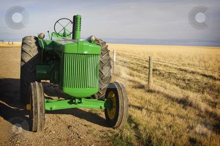 Vintage Tractor stock photo, Sunlit vintage diesel tractor restored & freshly painted, on prairie Canadian farm. by Brenda Carson