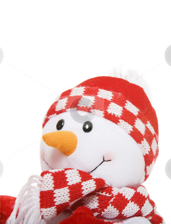 Little Snowman Portrait stock photo, Portrait of a little snowman in red touque & scarf. by Brenda Carson