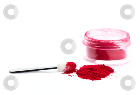 Red Pigment Powder stock photo, A pile of loose red powder with eyeshadow brush.  Shot on white background. by Brenda Carson