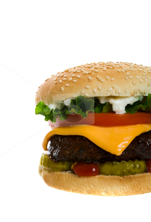 Cheeseburger stock photo, Juicy Angus beef burger topped with cheese, tomatoes & lettuce on a golden sesame seed bun.  Shot on white background. by Brenda Carson