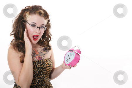 Look at the Time! stock photo, A fifties meets alternative girl panicking because she doesn't want to miss the sale at her favorite store. by Brenda Carson