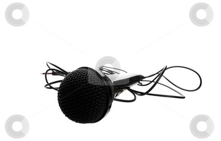 Studio Microphone stock photo, A black studio microphone shot on a white background. by Brenda Carson