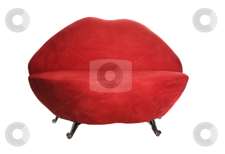 Lip Chair stock photo, Crazy, red chair shaped like lips.  Great for Valentine's Day.  Shot on white background. by Brenda Carson