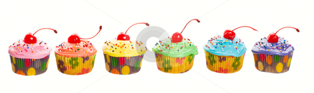 Rainbow Cupcakes stock photo, A rainbow panorama of colorful, mouth-watering cherry cupcakes. by Brenda Carson