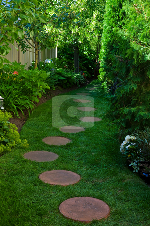 Shady Garden Path stock photo, A side garden featuring a shady stepping stone path. by Brenda Carson