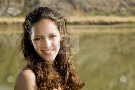 Natural Woman stock photo, A naturally beautiful, mixed-race girl in natural surroundings. by Brenda Carson