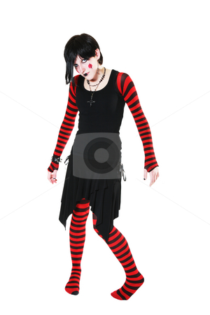 No Strings Attached stock photo, Gothic, raggedy ann style puppet stands awkwardly with no strings attached. by Brenda Carson