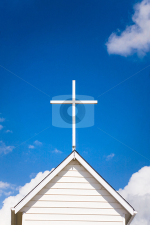 Church Roof Top stock photo, Top of old, small country church. by Brenda Carson