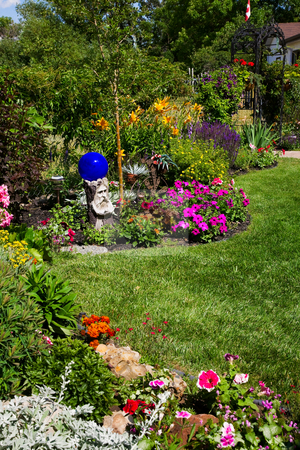 Lush Perennial Bed stock photo, A beautiful, curving flower bed full of blooming annuals & perennials line a sunny backyard. by Brenda Carson