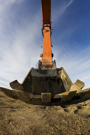Backhoe Bucket stock photo, Big backhoe bucket coming at you.  Shot with fisheye. by Brenda Carson