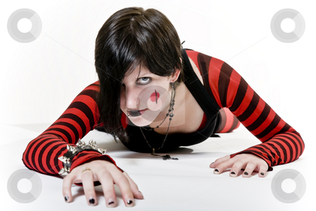 Crawling Goth Girl stock photo, Goth girl with a fierce look, crawling towards you. by Brenda Carson