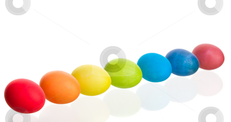 Rainbow Easter Eggs stock photo, A colorful rainbow of dyed Easter eggs.  Shot on white background. by Brenda Carson