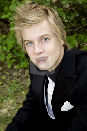 Romantic Formals His stock photo, Young man with gorgeous blue eyes in formal suit. by Brenda Carson