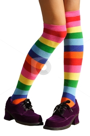 Bashful Legs stock photo, Awkward, bashful, schoolgirl legs in multicolored knee-his by Brenda Carson