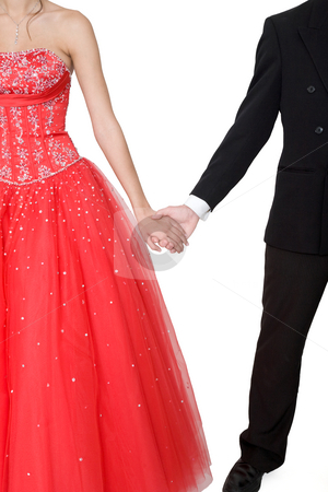 Boy & Girl Formal stock photo, Boy & girl, in formal attire, holding hands against a white background. by Brenda Carson