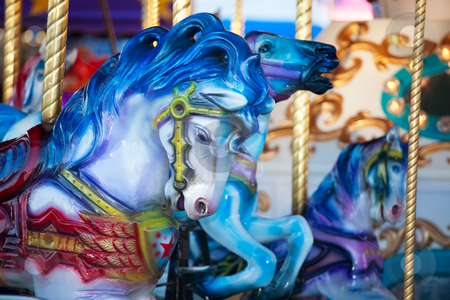Carousal Horses stock photo, Blue carousal horses on a carnival merry-go-round. by Brenda Carson