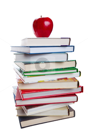Books With Apple stock photo, A stack of text books with a bright, red apple on top.  Shot on white background. by Brenda Carson