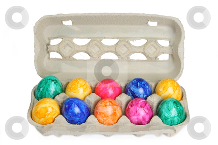Colorful dyed easter eggs stock photo, Colorful dyed easter eggs in a tray by Birgit Reitz-Hofmann