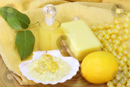 Bodycare stock photo, Sea bath salt and yellow accessories - body care by Birgit Reitz-Hofmann