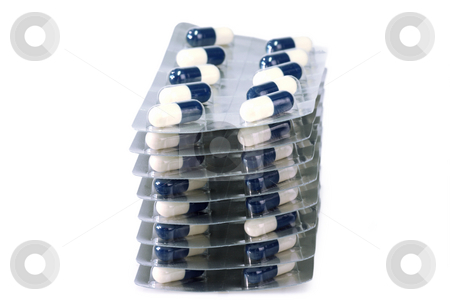 Medicine stock photo, Pills on a bright background. Shot in studio. by Birgit Reitz-Hofmann