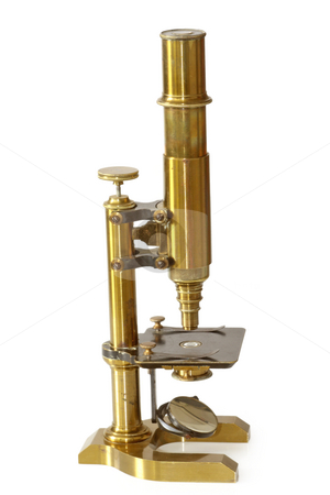 Vintage microscope stock photo, Old fashioned microscope from the 19th century. Isolated on white background. by Birgit Reitz-Hofmann
