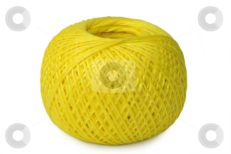 Cord spool stock photo, Yellow Cord spool on a bright Background by Birgit Reitz-Hofmann