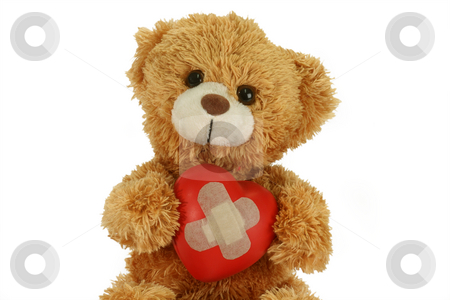 Love sick stock photo, Cute teddy bear with decorative heart on bright background by Birgit Reitz-Hofmann