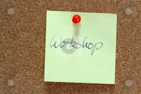 Workshop stock photo, Yellow post-it note on bulletin board of cork by Birgit Reitz-Hofmann