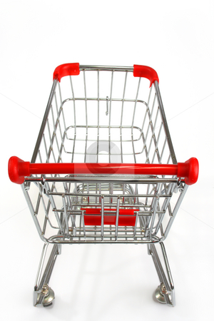 Shopping trolley stock photo, Isolated shopping trolley over white by Birgit Reitz-Hofmann