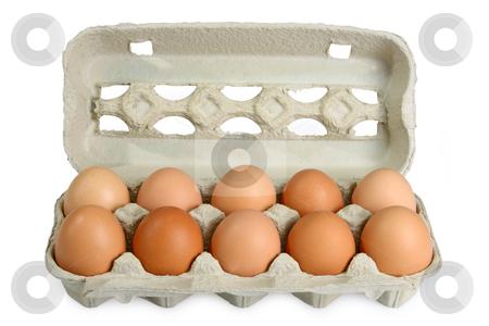 Fresh Eggs stock photo, Eggs in a box on bright background by Birgit Reitz-Hofmann